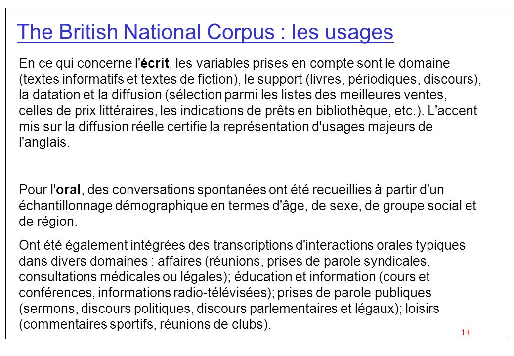 The British National Corpus : les usages