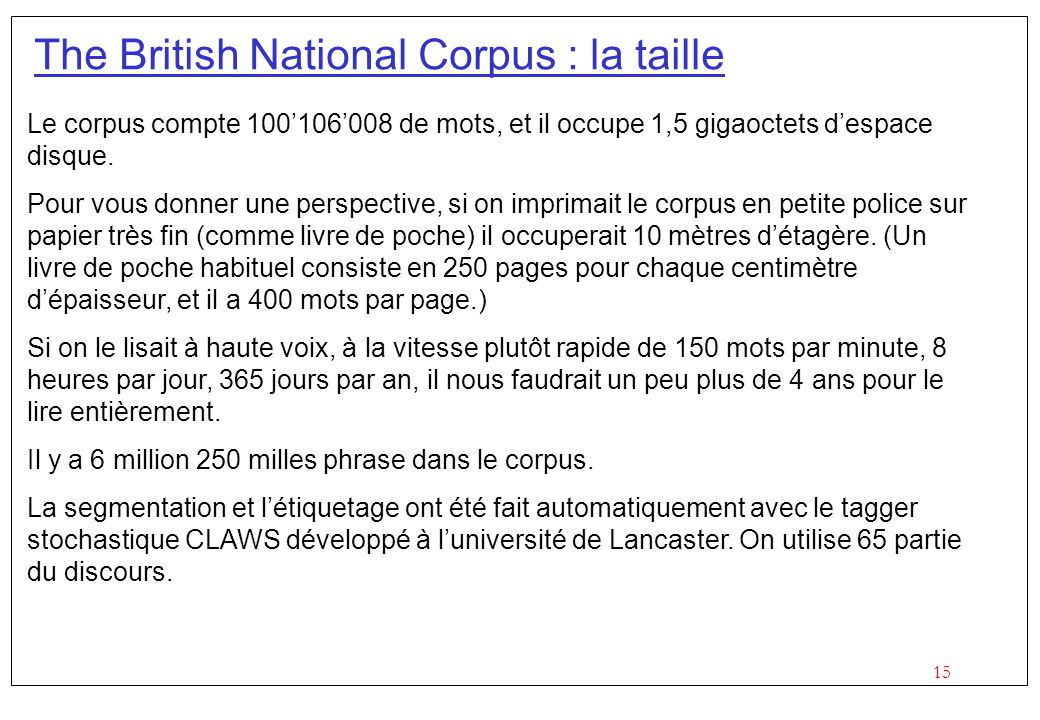 The British National Corpus : la taille