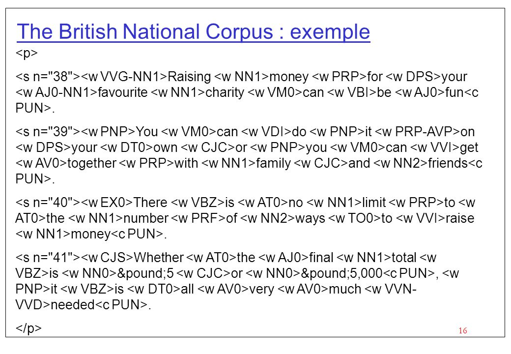 The British National Corpus : exemple