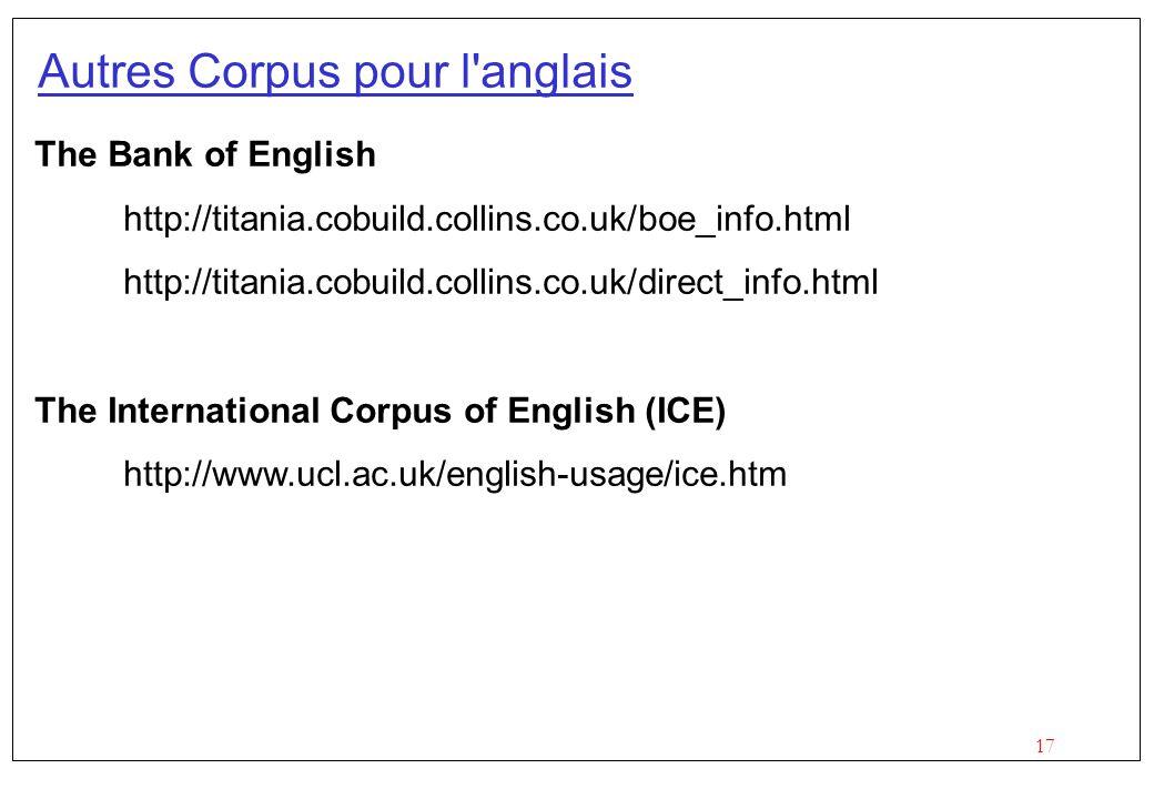 Autres Corpus pour l anglais