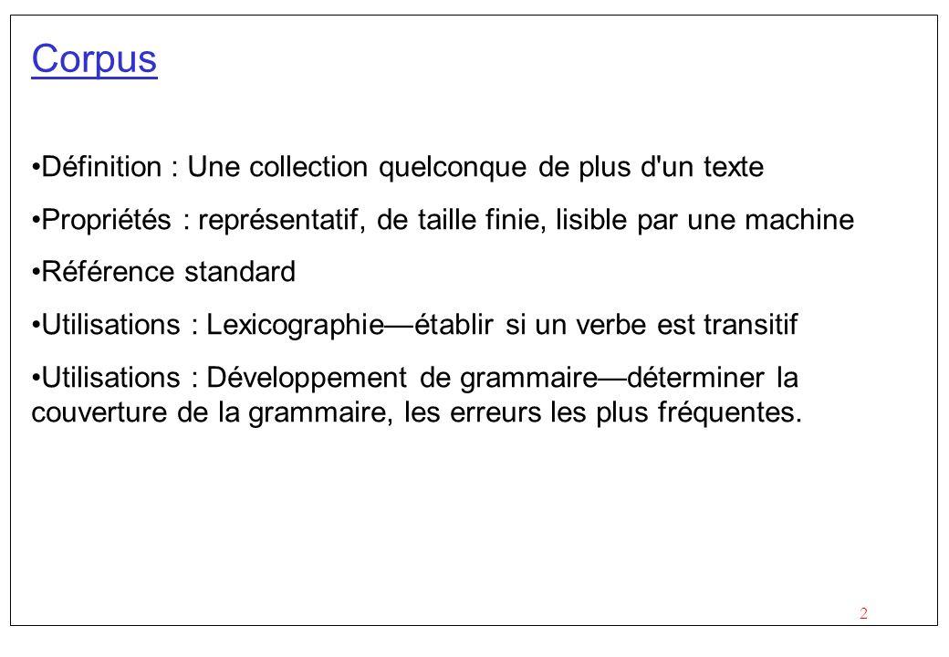 Corpus Définition : Une collection quelconque de plus d un texte