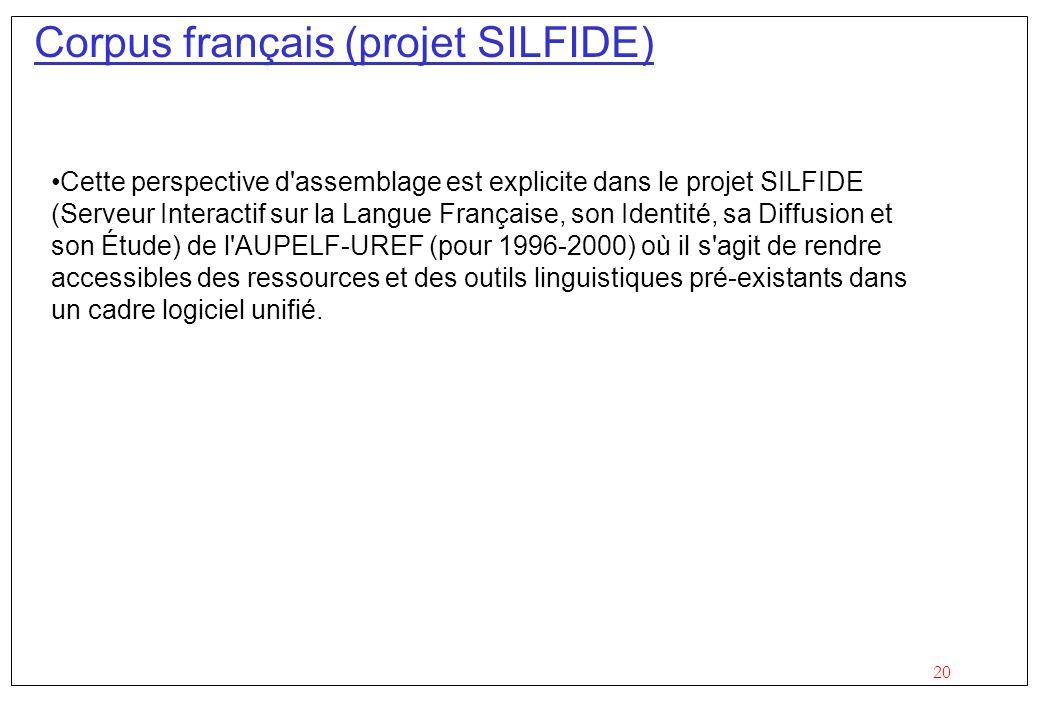 Corpus français (projet SILFIDE)