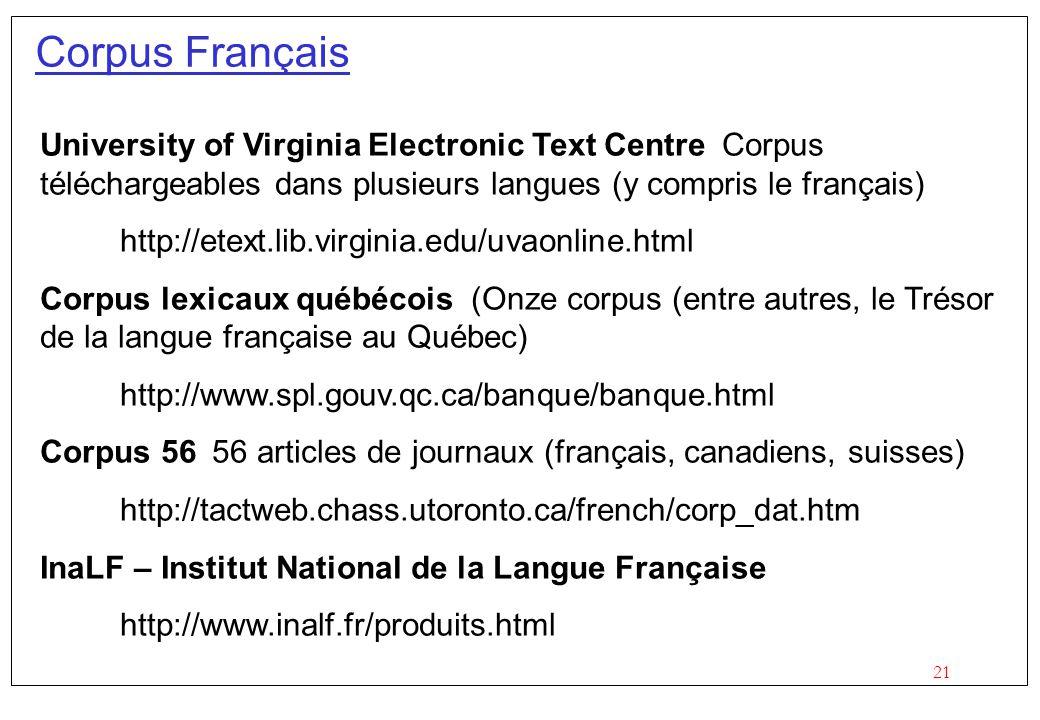Corpus Français University of Virginia Electronic Text Centre Corpus téléchargeables dans plusieurs langues (y compris le français)