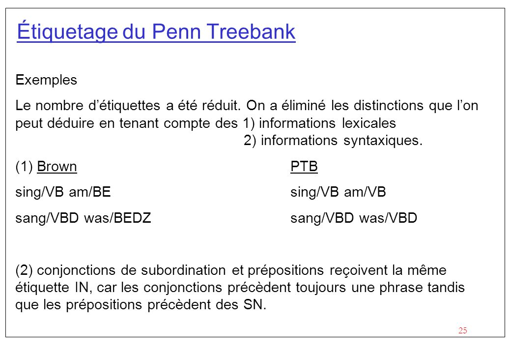 Étiquetage du Penn Treebank