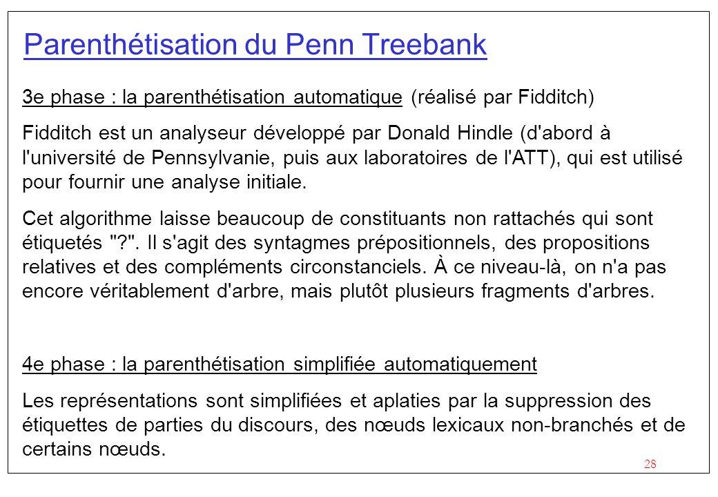 Parenthétisation du Penn Treebank