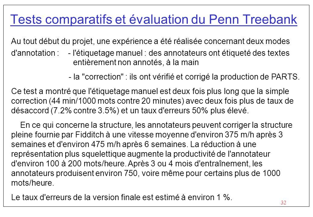 Tests comparatifs et évaluation du Penn Treebank