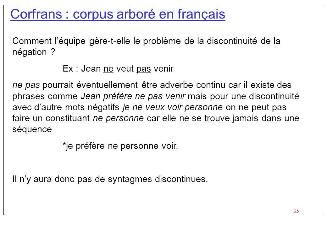 Corfrans : corpus arboré en français