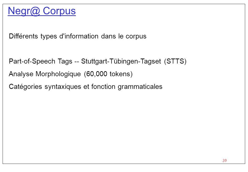 Negr@ Corpus Différents types d information dans le corpus
