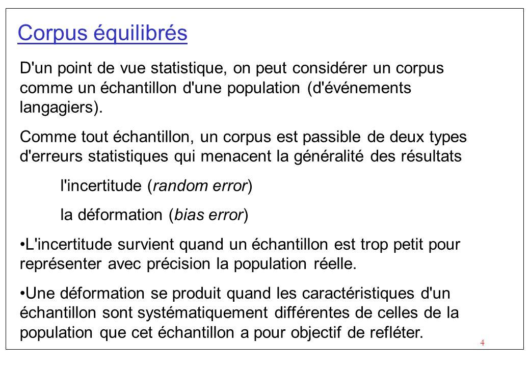 Corpus équilibrés D un point de vue statistique, on peut considérer un corpus comme un échantillon d une population (d événements langagiers).