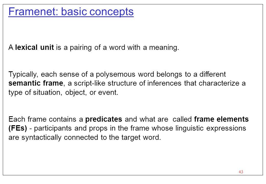 Framenet: basic concepts
