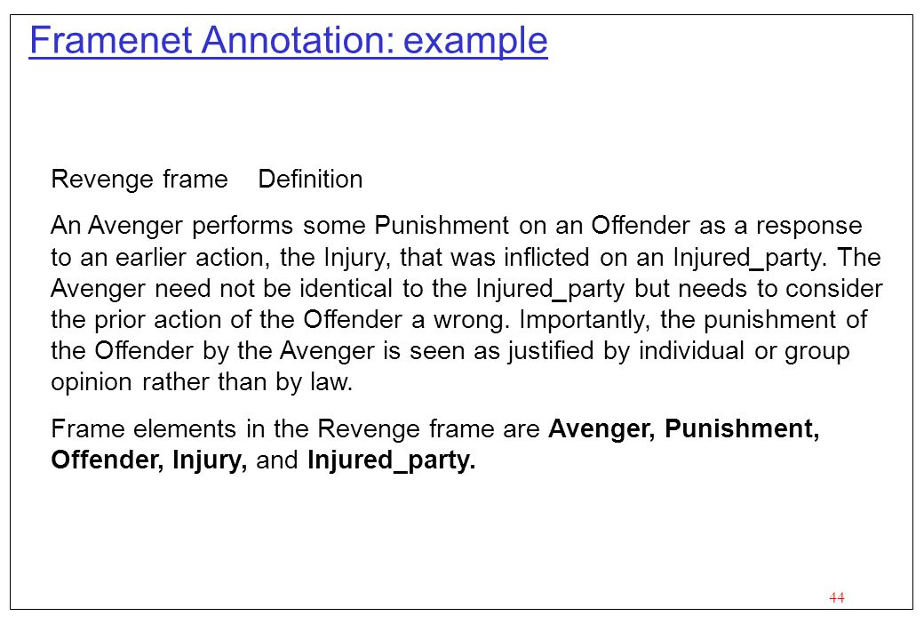 Framenet Annotation: example