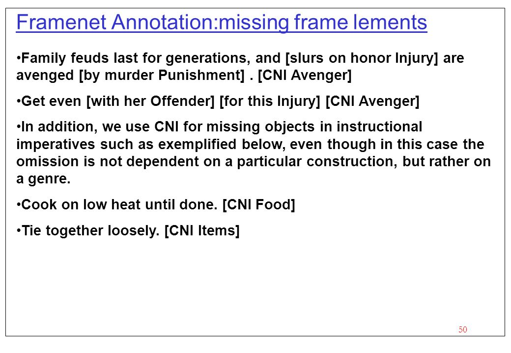 Framenet Annotation:missing frame lements