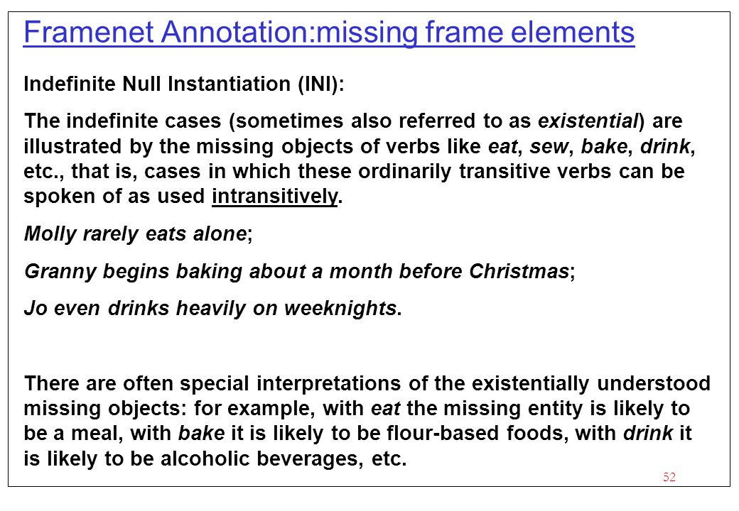 Framenet Annotation:missing frame elements