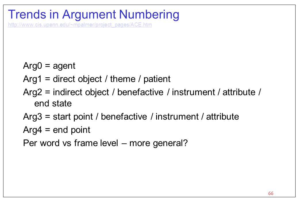 Trends in Argument Numbering http://www. cis. upenn