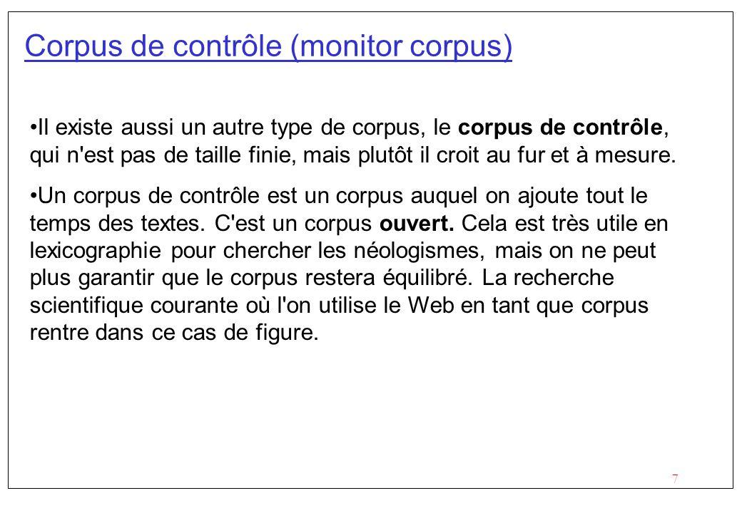 Corpus de contrôle (monitor corpus)