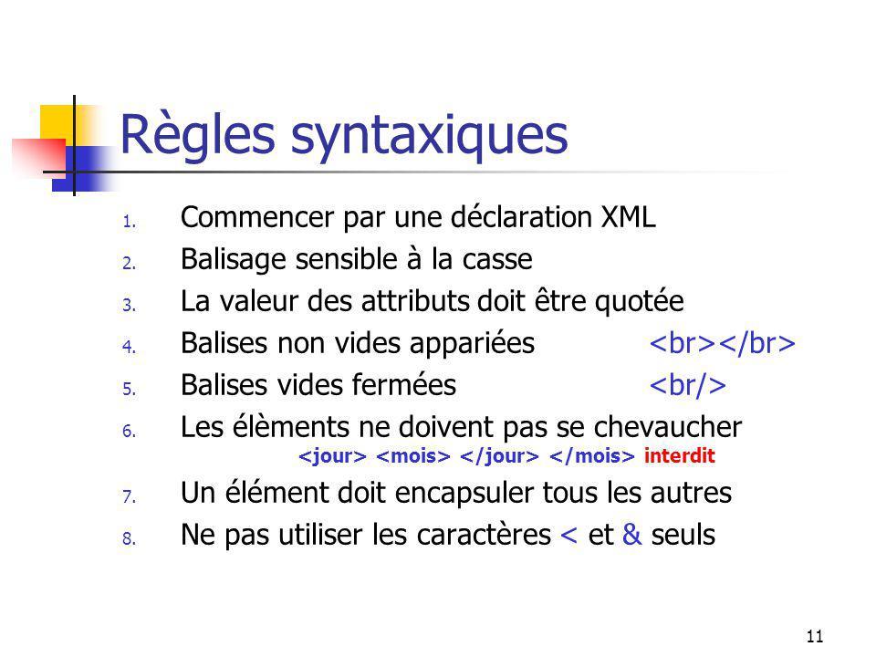 Règles syntaxiques Commencer par une déclaration XML