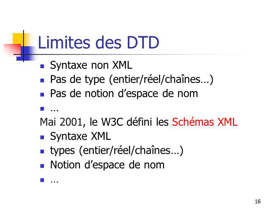Limites des DTD Syntaxe non XML Pas de type (entier/réel/chaînes…)