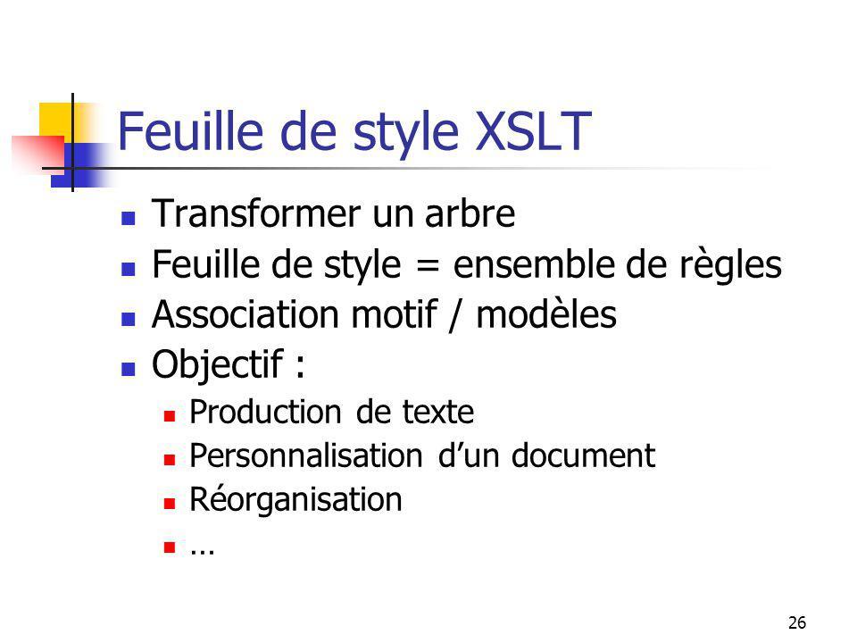 Feuille de style XSLT Transformer un arbre