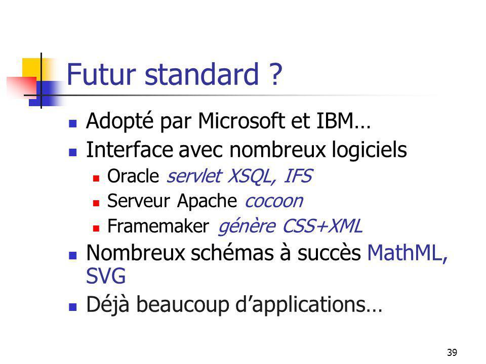 Futur standard Adopté par Microsoft et IBM…