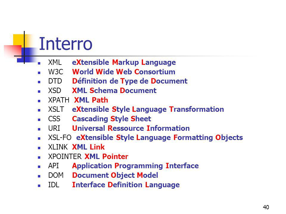 Interro XML W3C DTD XSD XPATH XSLT CSS URI XSL-FO XLINK XPOINTER API