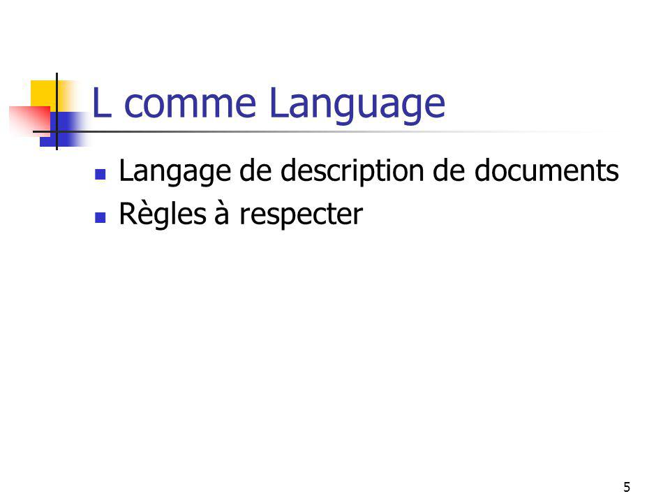 L comme Language Langage de description de documents