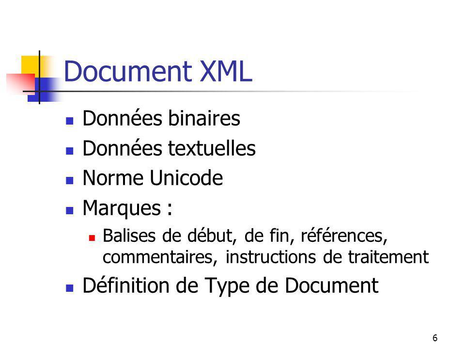 Document XML Données binaires Données textuelles Norme Unicode