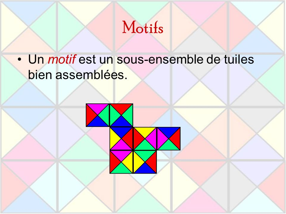 Motifs Un motif est un sous-ensemble de tuiles bien assemblées.