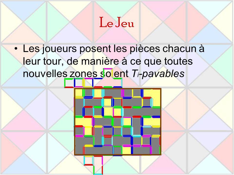 Le Jeu Les joueurs posent les pièces chacun à leur tour, de manière à ce que toutes nouvelles zones soient Ti-pavables.