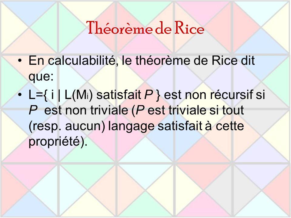 Théorème de Rice En calculabilité, le théorème de Rice dit que: