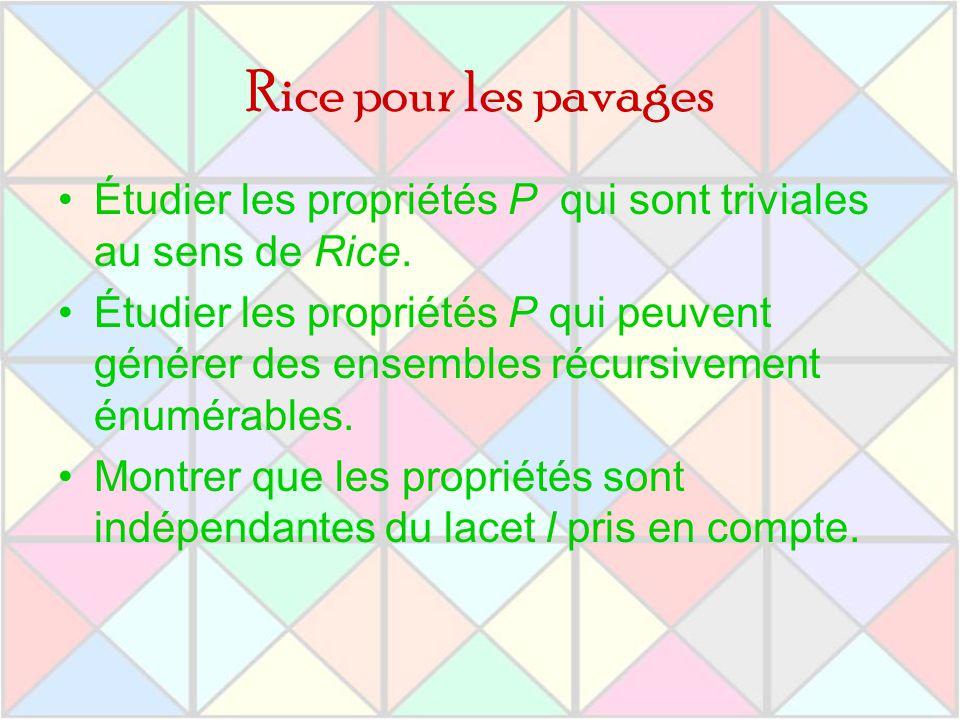 Rice pour les pavages Étudier les propriétés P qui sont triviales au sens de Rice.