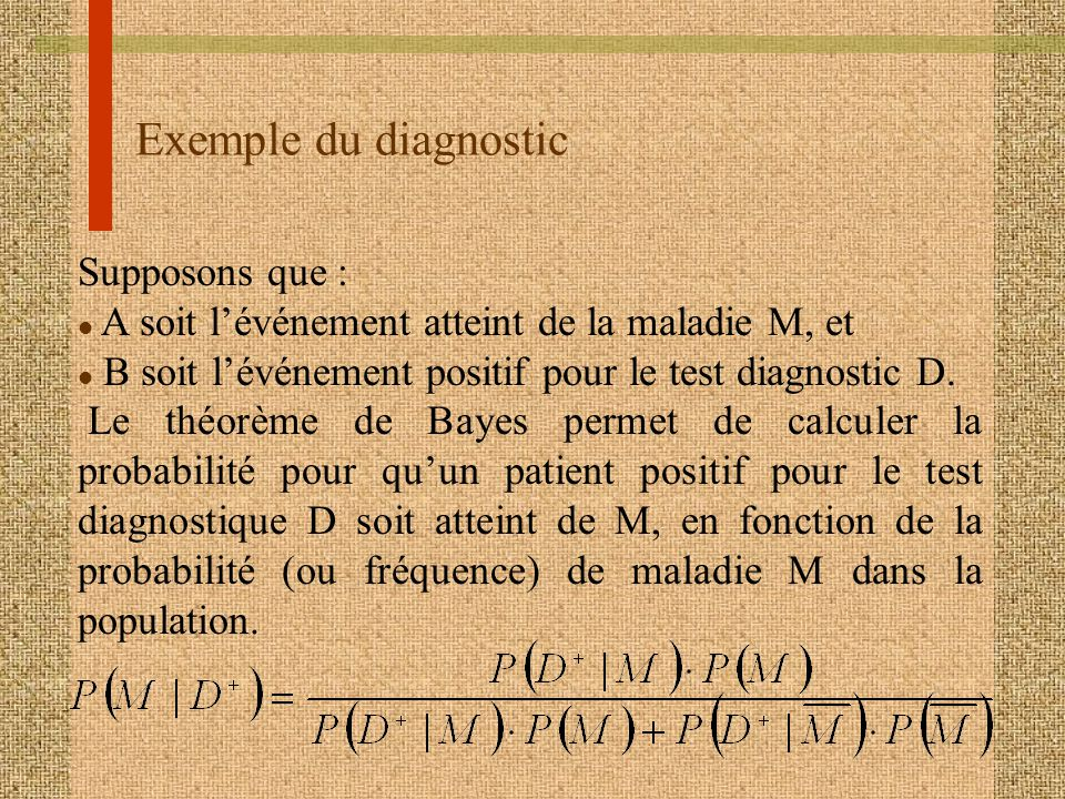 Exemple du diagnostic Supposons que :