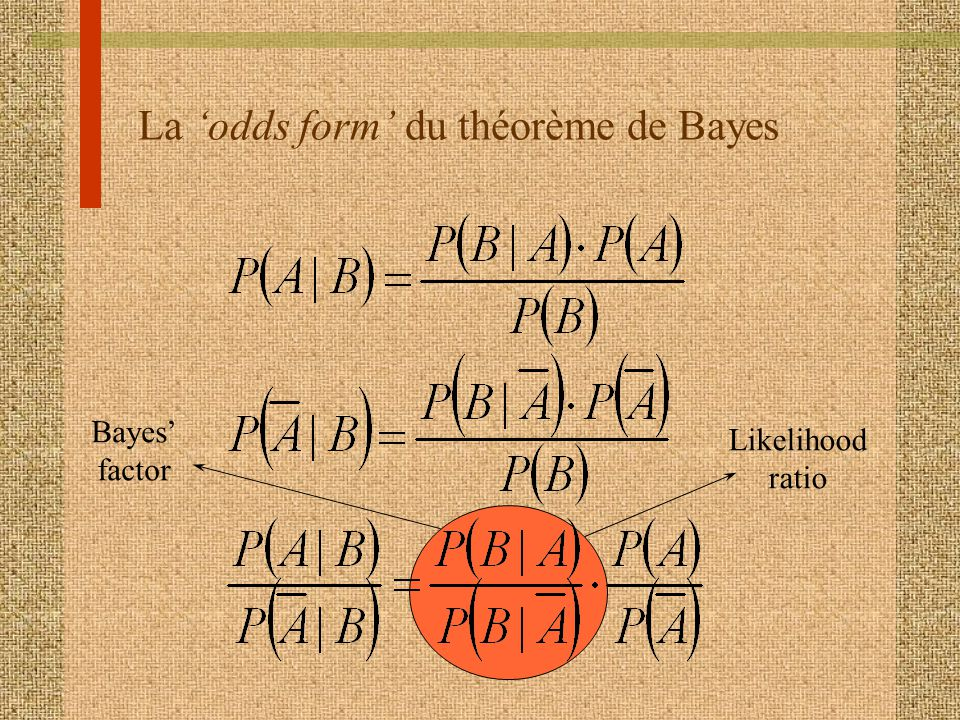 La 'odds form' du théorème de Bayes