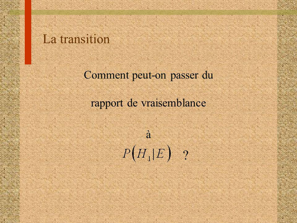 La transition Comment peut-on passer du rapport de vraisemblance à
