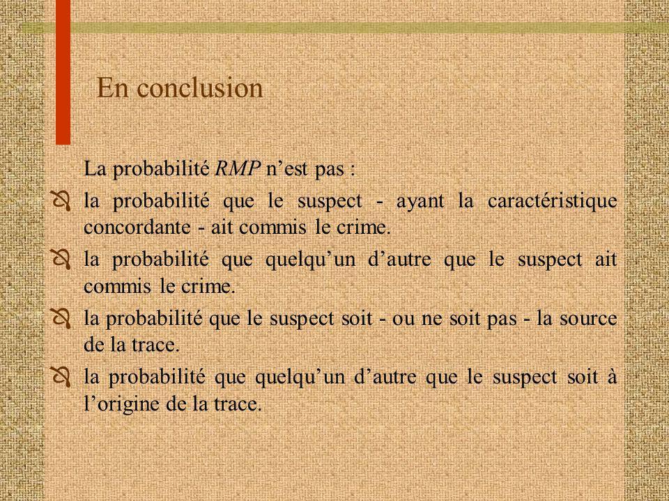 En conclusion La probabilité RMP n'est pas :