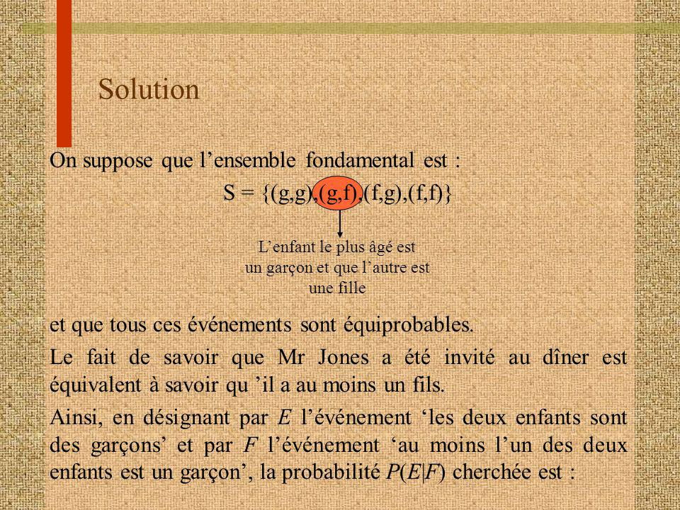 Solution On suppose que l'ensemble fondamental est :