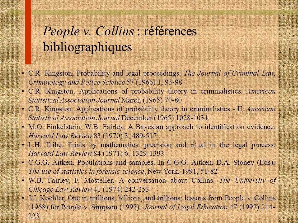People v. Collins : références bibliographiques
