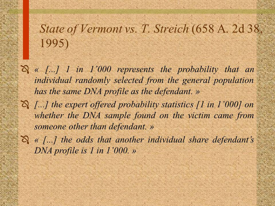 State of Vermont vs. T. Streich (658 A. 2d 38, 1995)