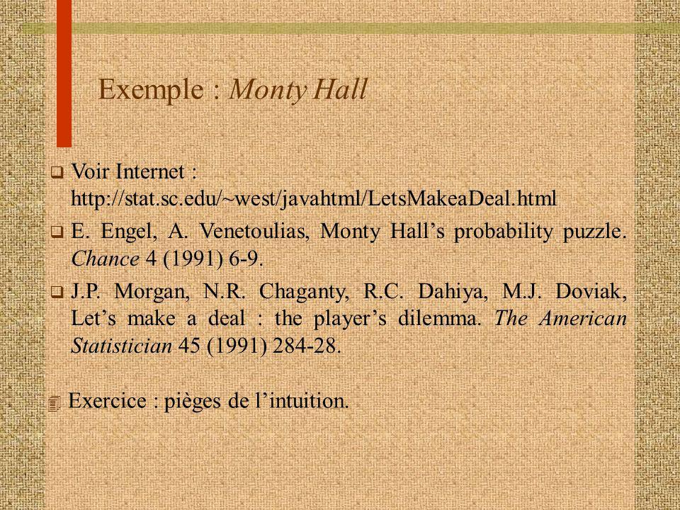 Exemple : Monty Hall Voir Internet : http://stat.sc.edu/~west/javahtml/LetsMakeaDeal.html.