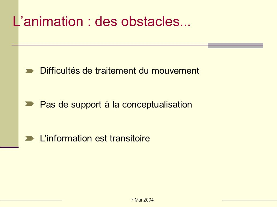 L'animation : des obstacles...