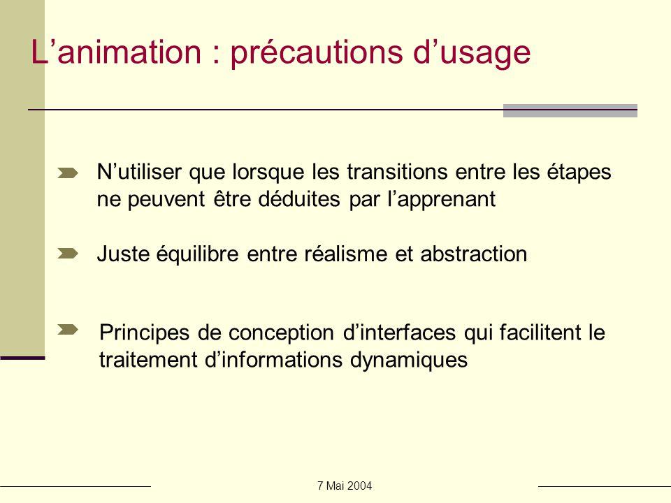 L'animation : précautions d'usage