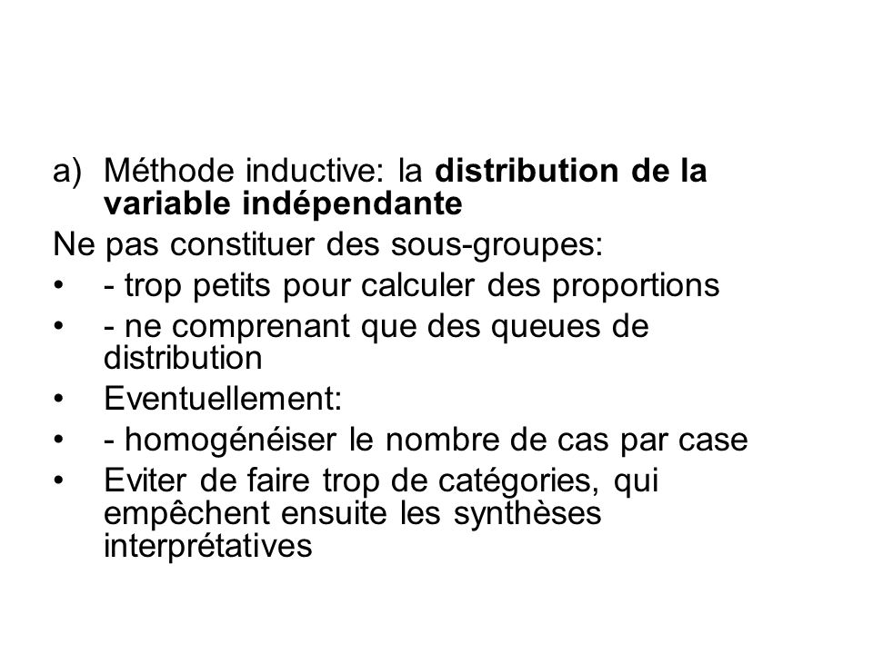 Méthode inductive: la distribution de la variable indépendante
