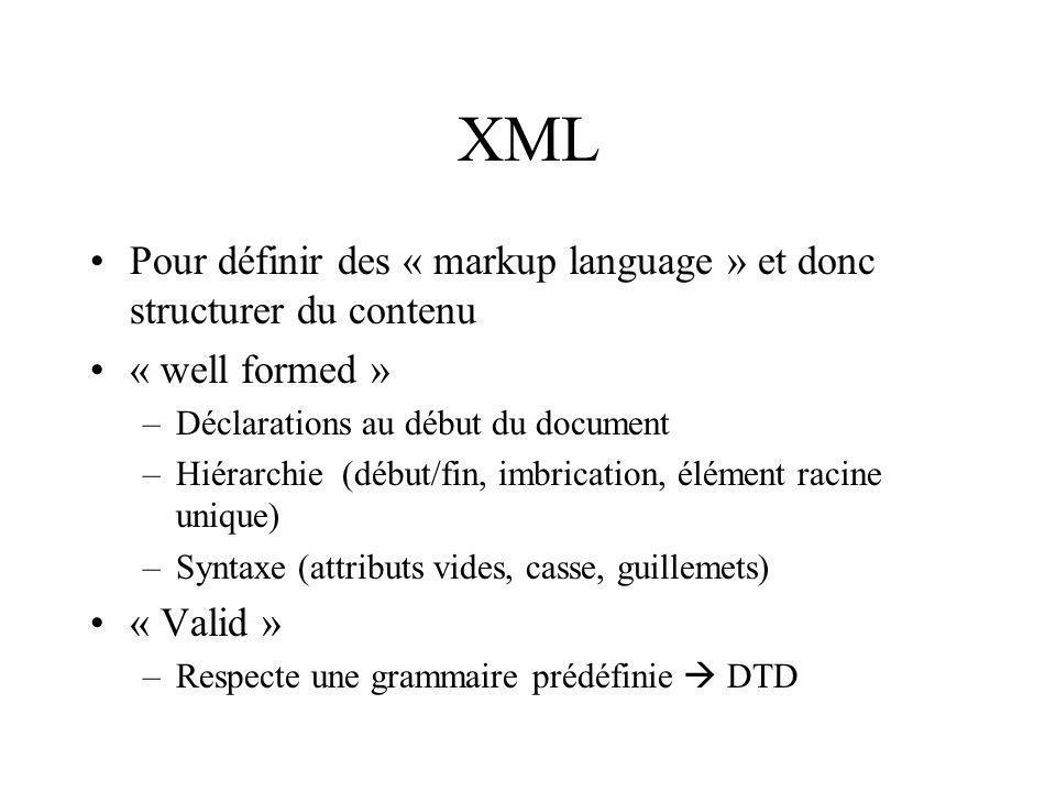 XML Pour définir des « markup language » et donc structurer du contenu