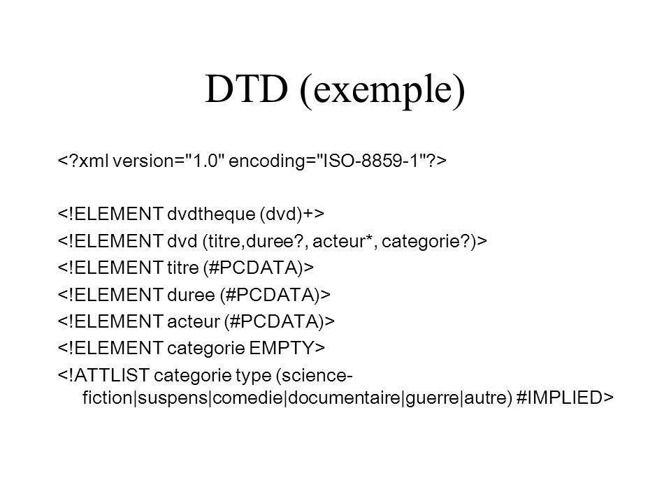 DTD (exemple) < xml version= 1.0 encoding= ISO-8859-1 >