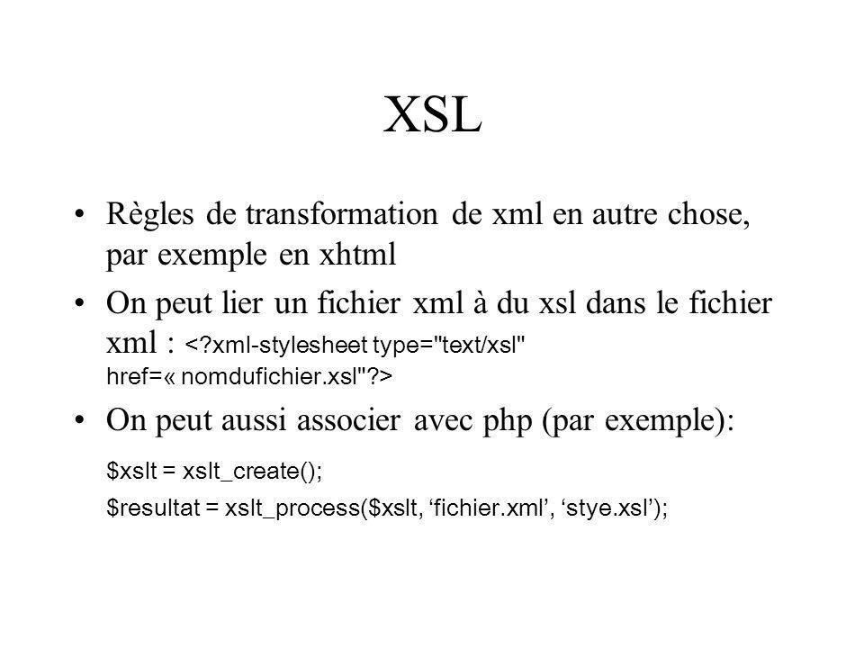 XSL Règles de transformation de xml en autre chose, par exemple en xhtml.