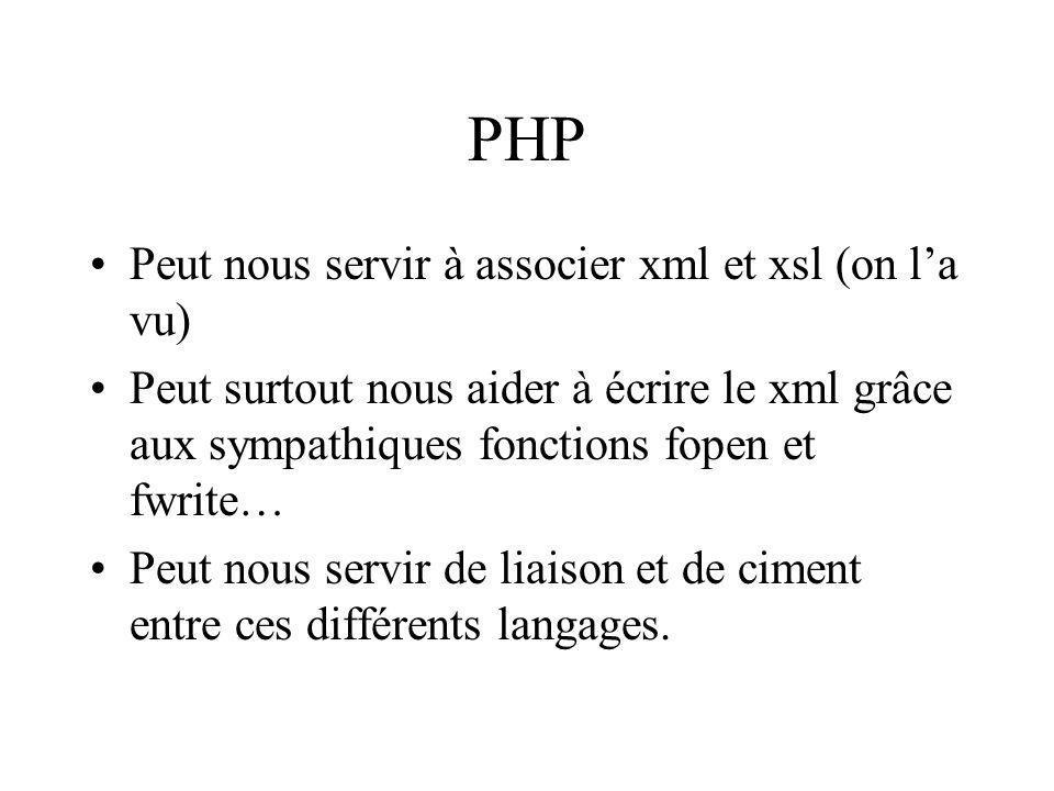PHP Peut nous servir à associer xml et xsl (on l'a vu)