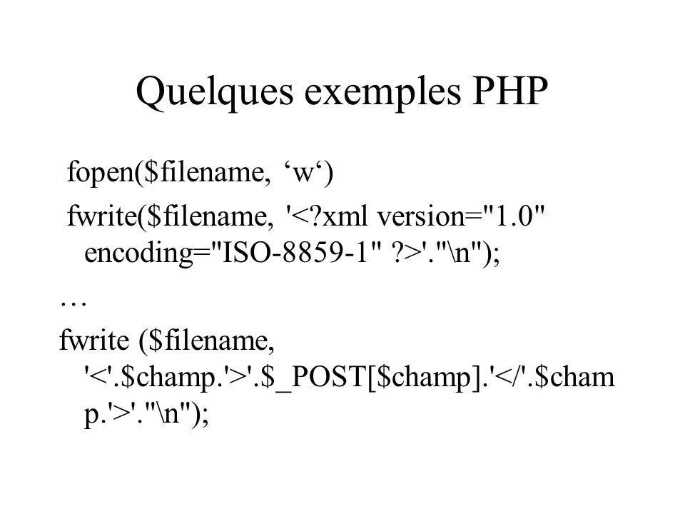 Quelques exemples PHP fopen($filename, 'w')