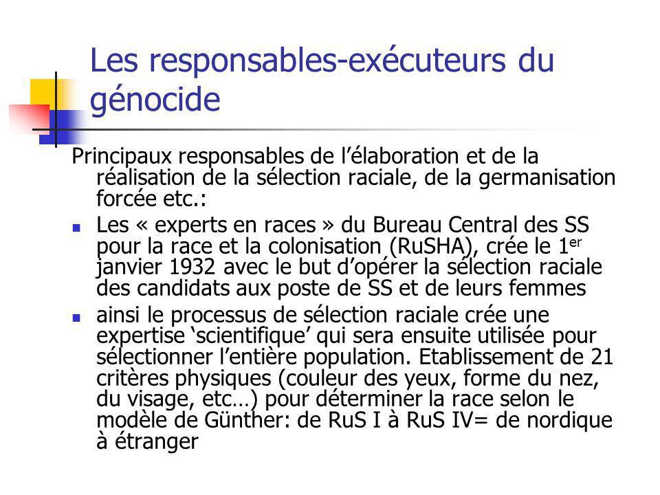 Les responsables-exécuteurs du génocide