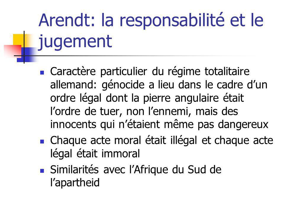 Arendt: la responsabilité et le jugement