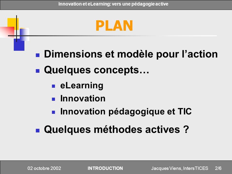 PLAN Dimensions et modèle pour l'action Quelques concepts…