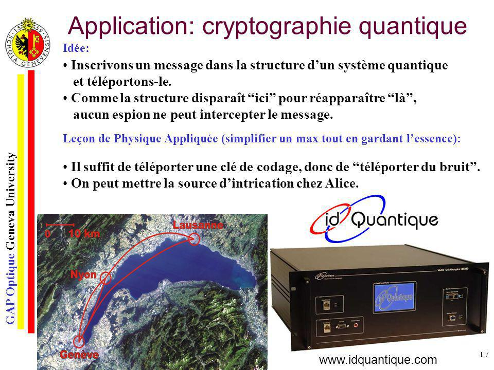 Application: cryptographie quantique